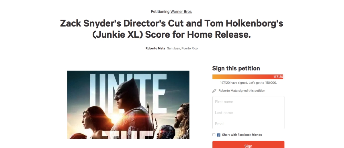 """Snyder Cut"" Petition — Claims of petition signatures being ""forged"" surface"