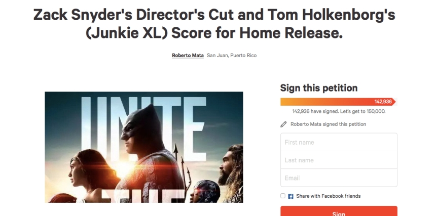 "CHANGE(dot)ORG Fan Petition for ""Snyder Cut"""