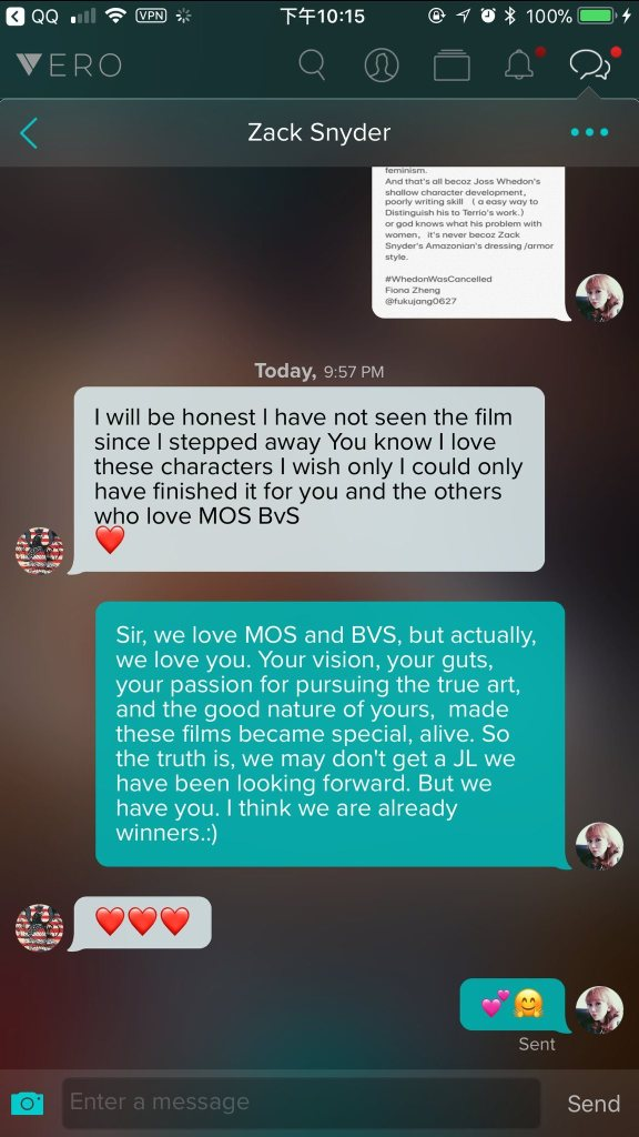 Message exchange between Fiona and Zack Snyder